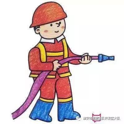 好看的人物简笔画图片,消防员简笔画彩色