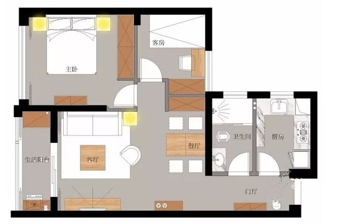 89㎡北欧两居,时尚的空间设计其实可以很简单!_白色