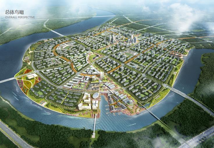 中新天津生态城北部片区城市设计总体鸟瞰图