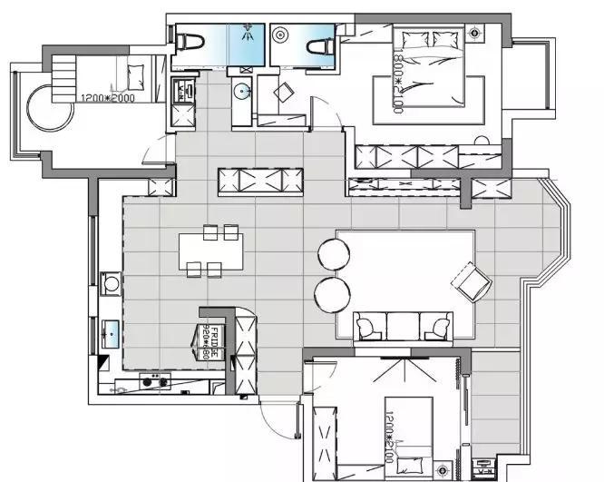 137m²简约风格装修,几何元素的运用,时尚灵动又有趣!_空间