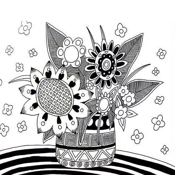 花瓶线描画,花瓶图案线描画,儿童黑白线描画花瓶.图片
