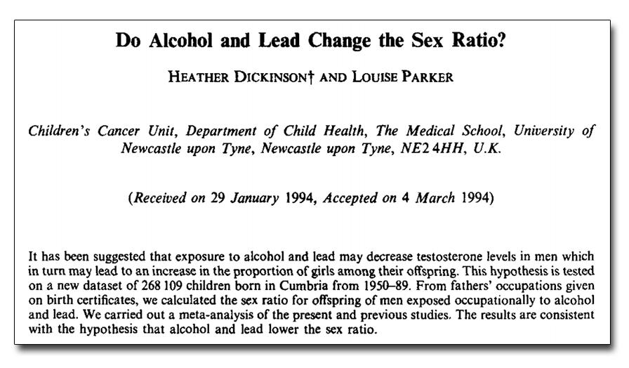 饮酒&铅,是否会影响胎儿性别?