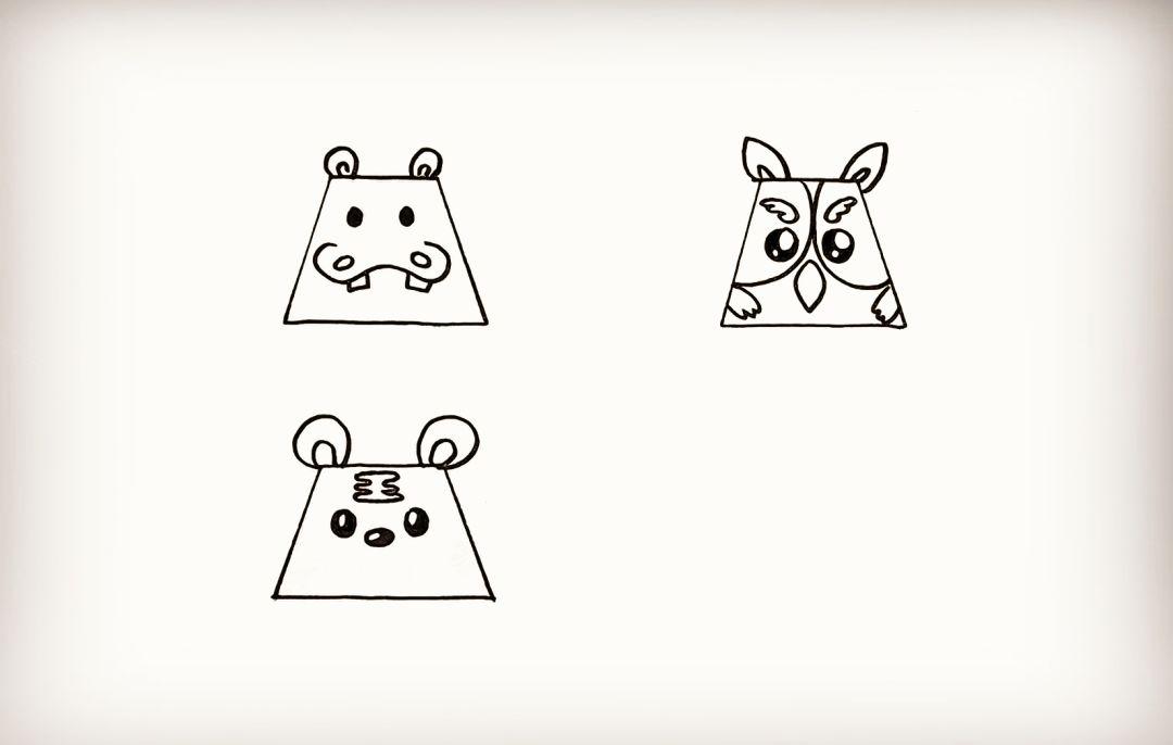 简笔画 用梯形画动物
