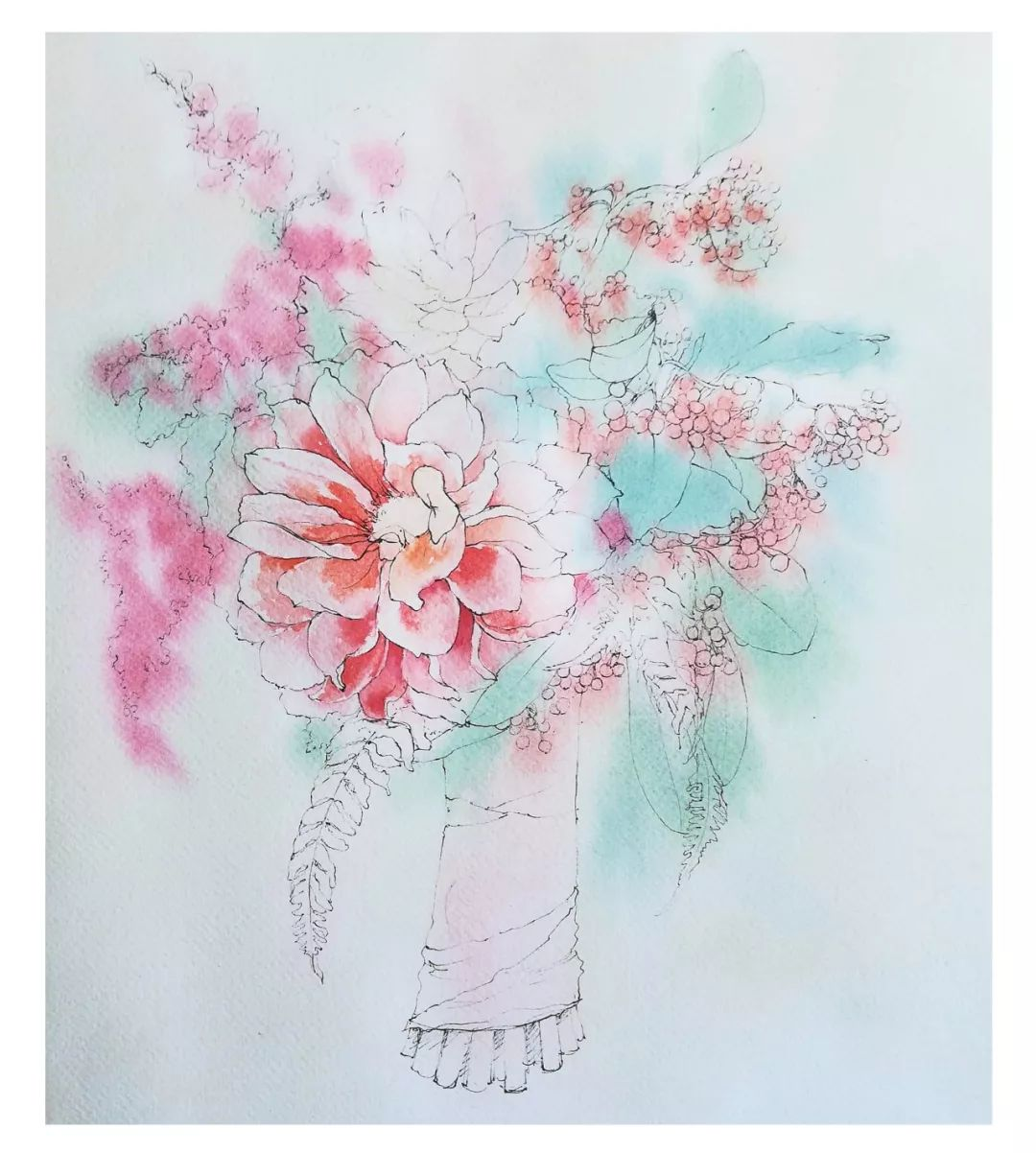 水彩教程 小小的手捧花,承载着大大的幸福