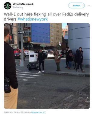 原创             危害公共安全?纽约市政府禁止联邦快递机器人上路