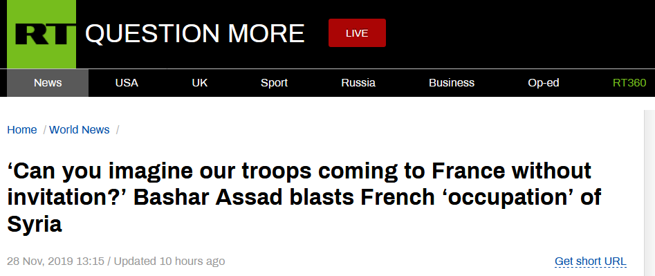 """不滿法國""""摻和""""內戰,敘總統痛斥法軍""""占領""""敘利亞:不請自來!"""