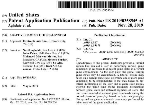 EA申请游戏内置助手专利可为玩家推荐一个或多个指令_系统