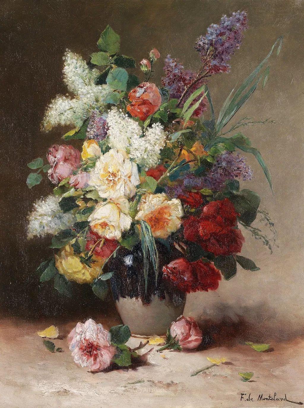 法国画家尤金·亨利·柯乔瓦花卉油画作品赏析