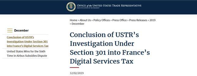 报复?美国贸易代表办公室:拟议对法国约24亿美元商品征税,部分税率达100%_中欧新闻_欧洲中文网