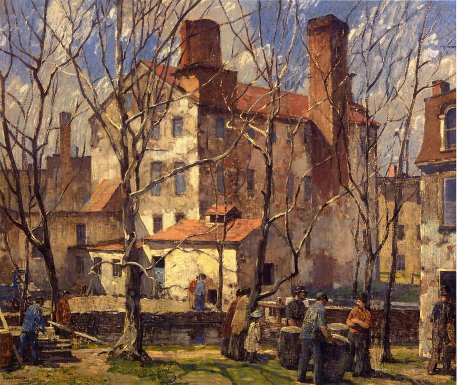 美国印象派画家罗伯特·斯宾塞油画作品欣赏