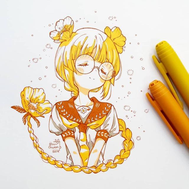 卡哇伊马克笔手绘动漫 可爱萌学生党最爱画风 收藏临摹吧