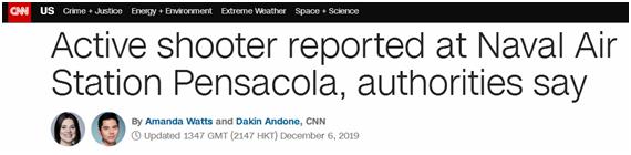 突发!美佛罗里达州彭萨科拉海军航空基地发生枪击案,已致两人死亡