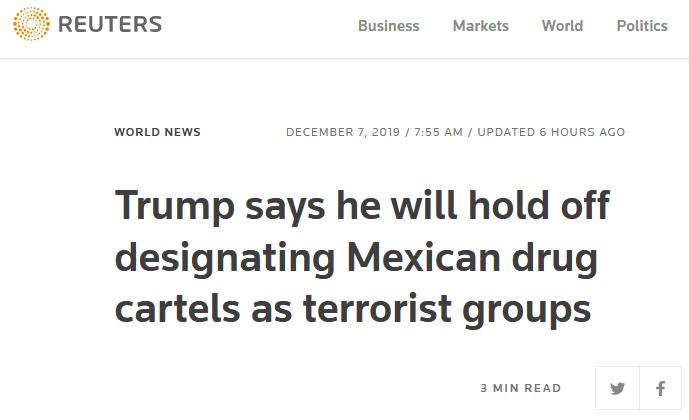 """特朗普将搁置认定墨西哥贩毒集团为""""恐怖组织"""",墨总统:非常棒的决定"""