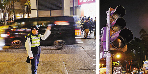 暴徒毁交通灯害死人后又袭警,港警再拘1破坏者