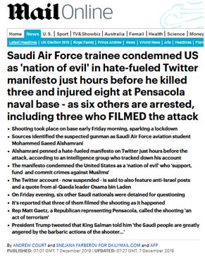 """佛州军事基地枪击案:外媒曝沙特空军学员杀人前曾斥美国为""""邪恶之国""""_阿尔沙姆拉尼"""