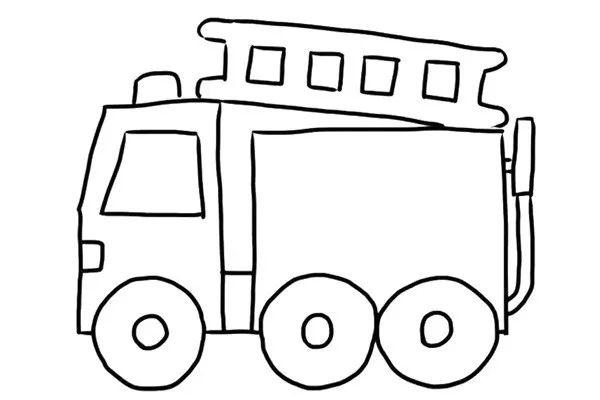 灭火器   禁止玩火   消防喇叭   画出消防车的车厢部分.