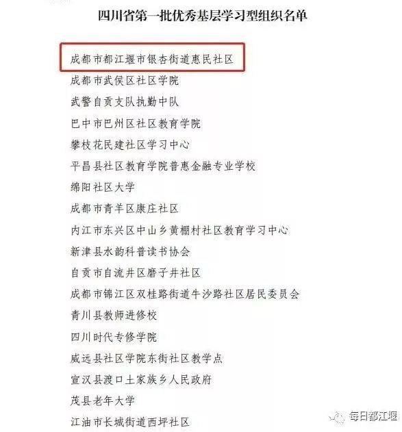 点赞!都江堰这个社区入选四川省第一批优秀基层学习型组织名单!