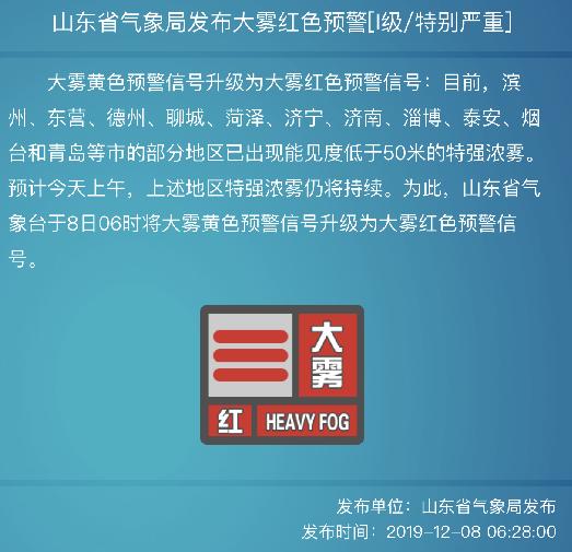 山东省气象局发布大雾红色预警 多条高速交通管制
