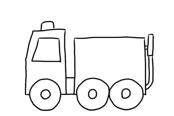 最后画出消防车车顶的消防梯.