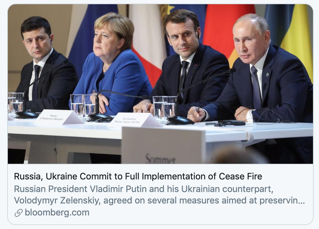 俄烏首腦首會晤,同意年底前在烏克蘭東部停火、交換戰俘