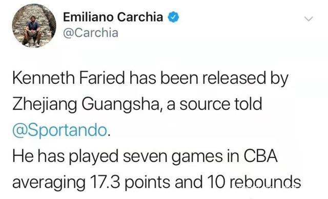 外媒曝浙江广厦裁掉NBA半兽人 超级外援CBA场均仅得17分