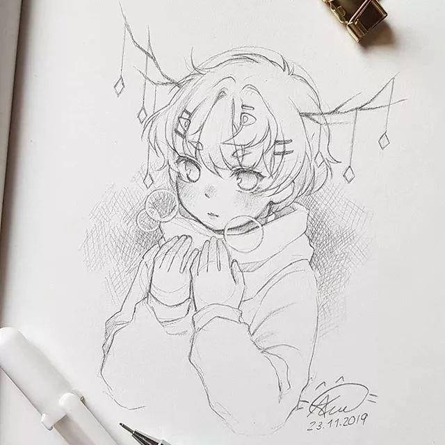 仙气满满的可爱女生动漫 纯手绘线稿方便临摹 收藏慢慢画值了