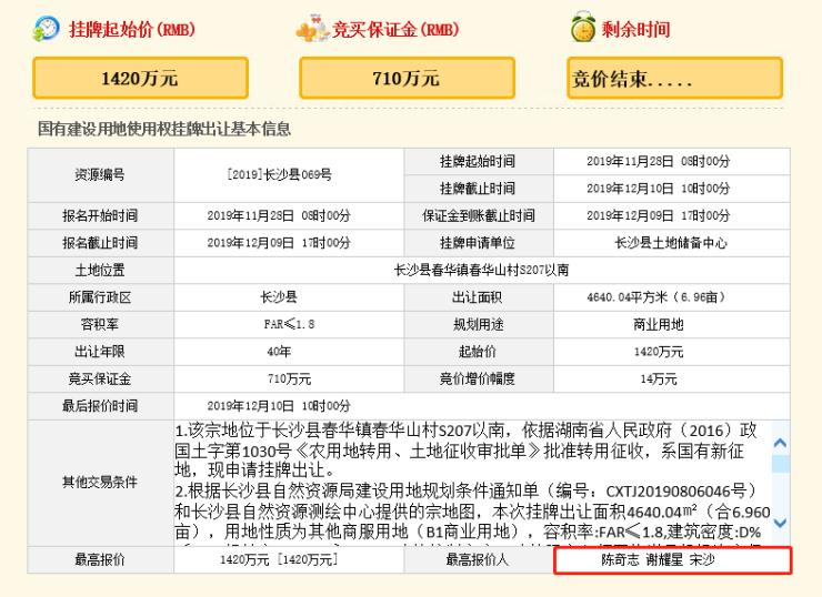 长沙县春华镇两宗商业地底价成交 被个人竞得