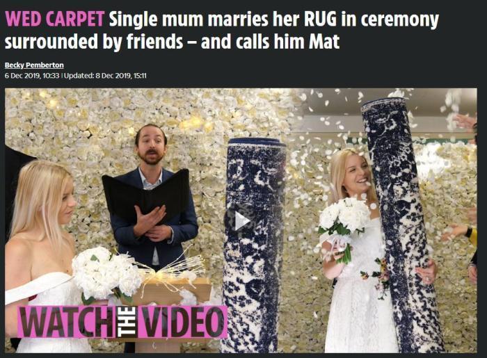 """她身着婚纱举办隆重年夜婚礼 """"新郎""""倒是一张地毯?(图)"""