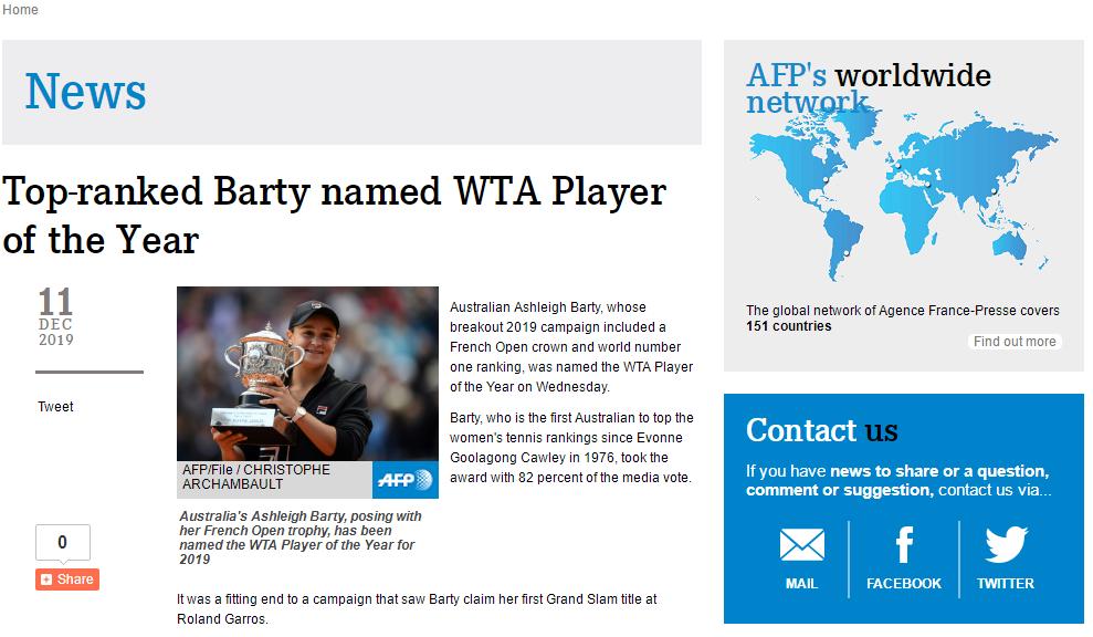 WTA年终大奖:巴蒂年度最佳 安德莱斯库获最佳新人