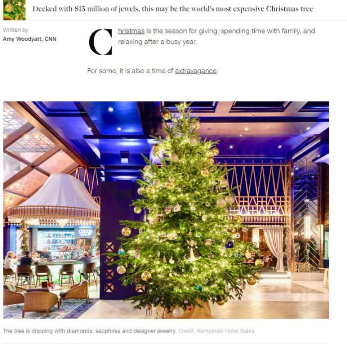 全球最貴圣誕樹 圣誕樹究竟是什么樹圣誕節為什么要有圣誕樹?