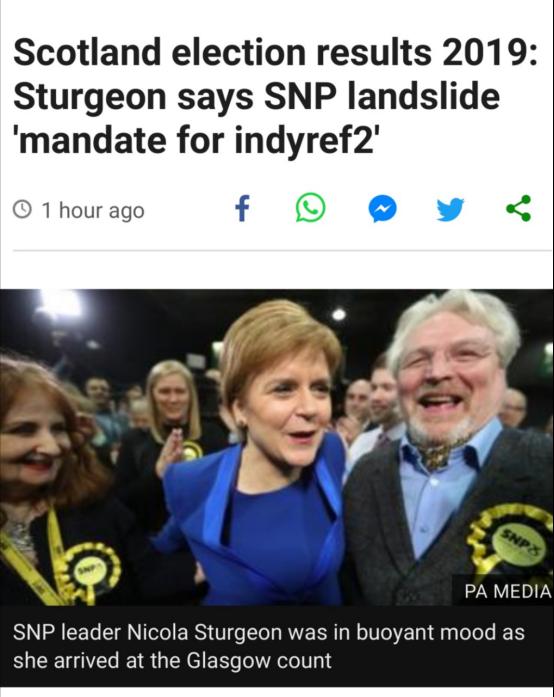 """英国大选中苏格兰民族党成绩不俗,第2次""""独立公投""""要来?"""