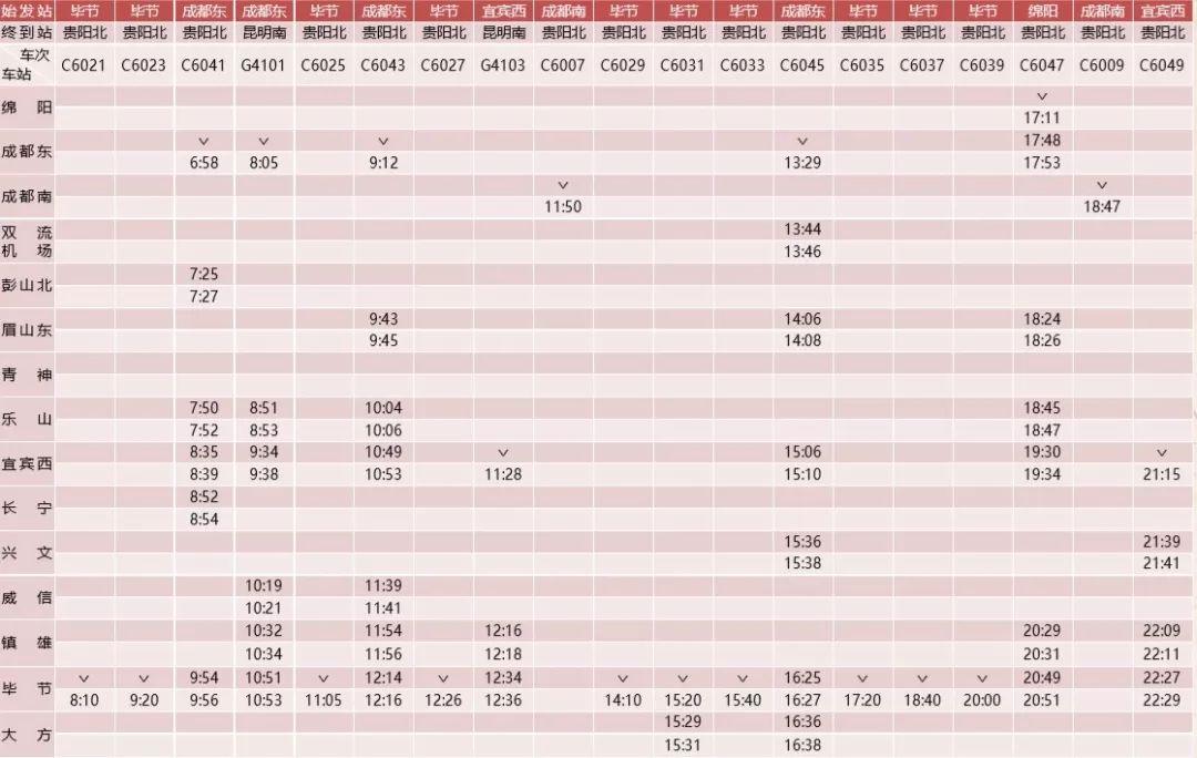 成贵高铁12月16日开通!一站直达快车,二等座294元!(附时刻表)