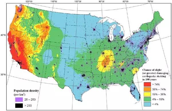 加州房产投资 全美最新地震灾害图公布|南湾、东湾均面临较大风险