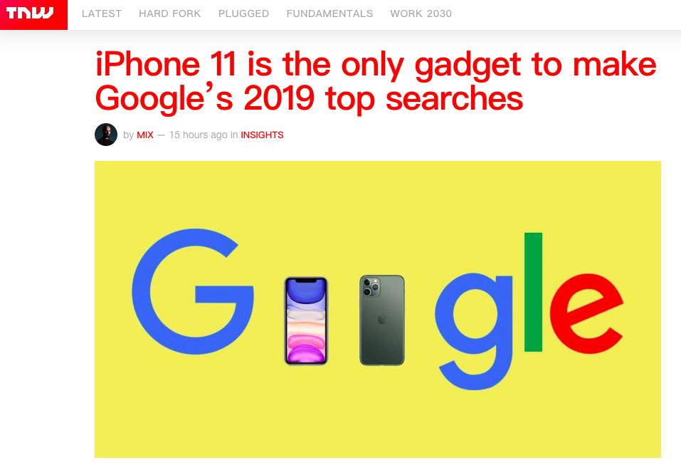 谷歌2019全球搜索top榜唯一电子快消品,iPhone 11该高兴吗?
