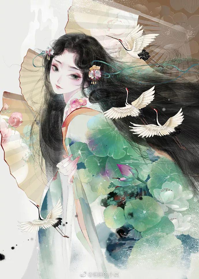 古代美女 男 水粉画 手绘 插画 壁纸 古装 古风图片
