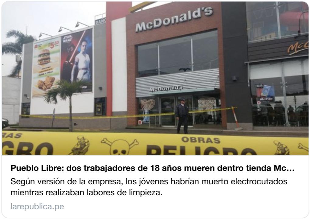 秘魯兩名麥當勞員工觸電身亡,年輕人抗議剝削性工作環境