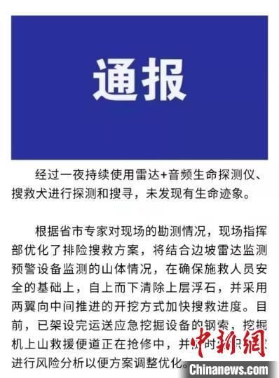 浙江松阳矿山塌方救援工作持续一夜 未发现有生命迹象