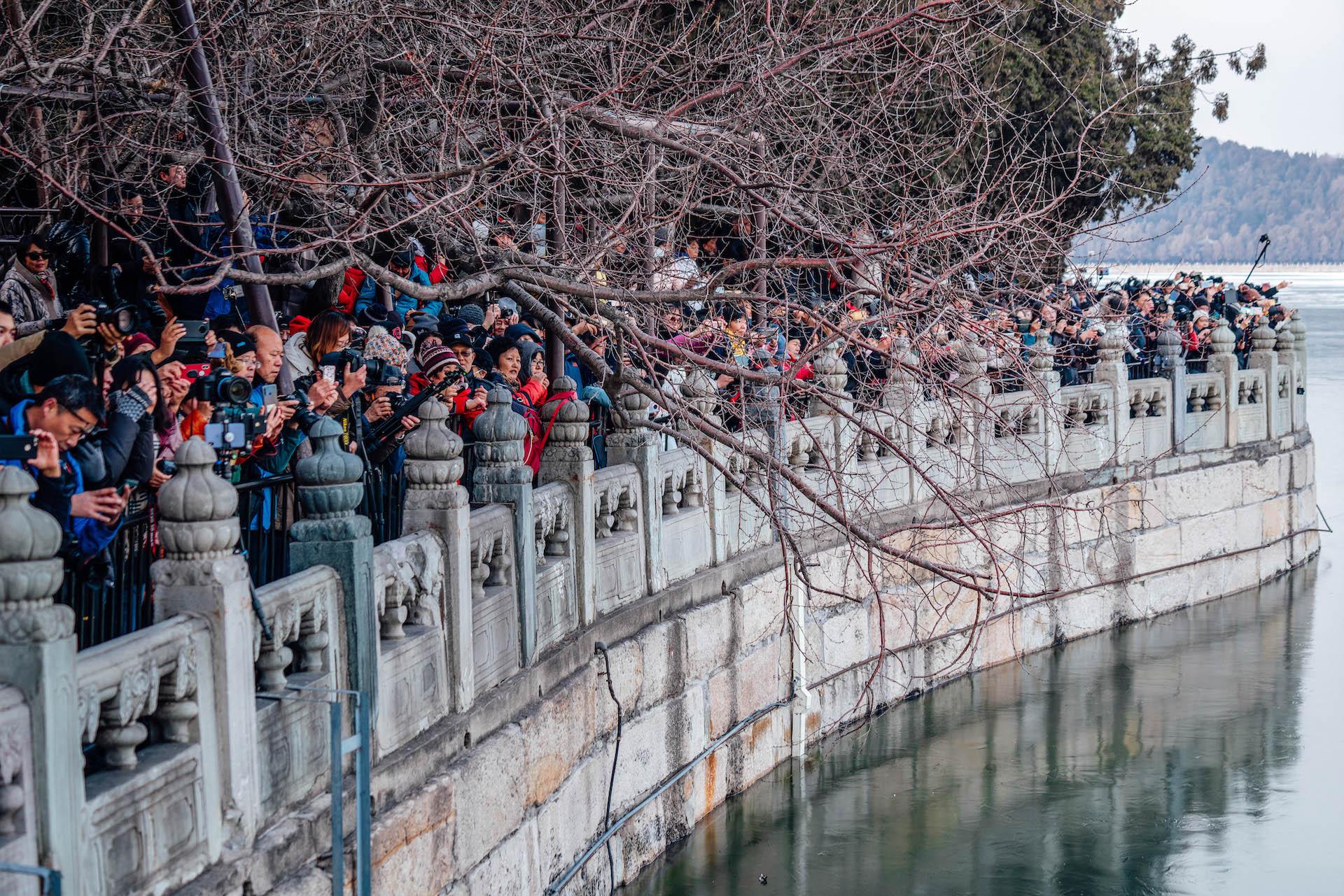 """冬至又至,颐和园十七孔桥再现""""金光穿洞"""",拍摄者人山人海"""