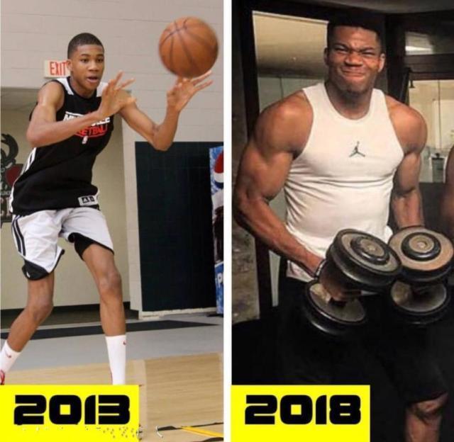 NBA才是最伟大的健身房!进NBA前后对比照,字母哥从竹竿变肌肉男