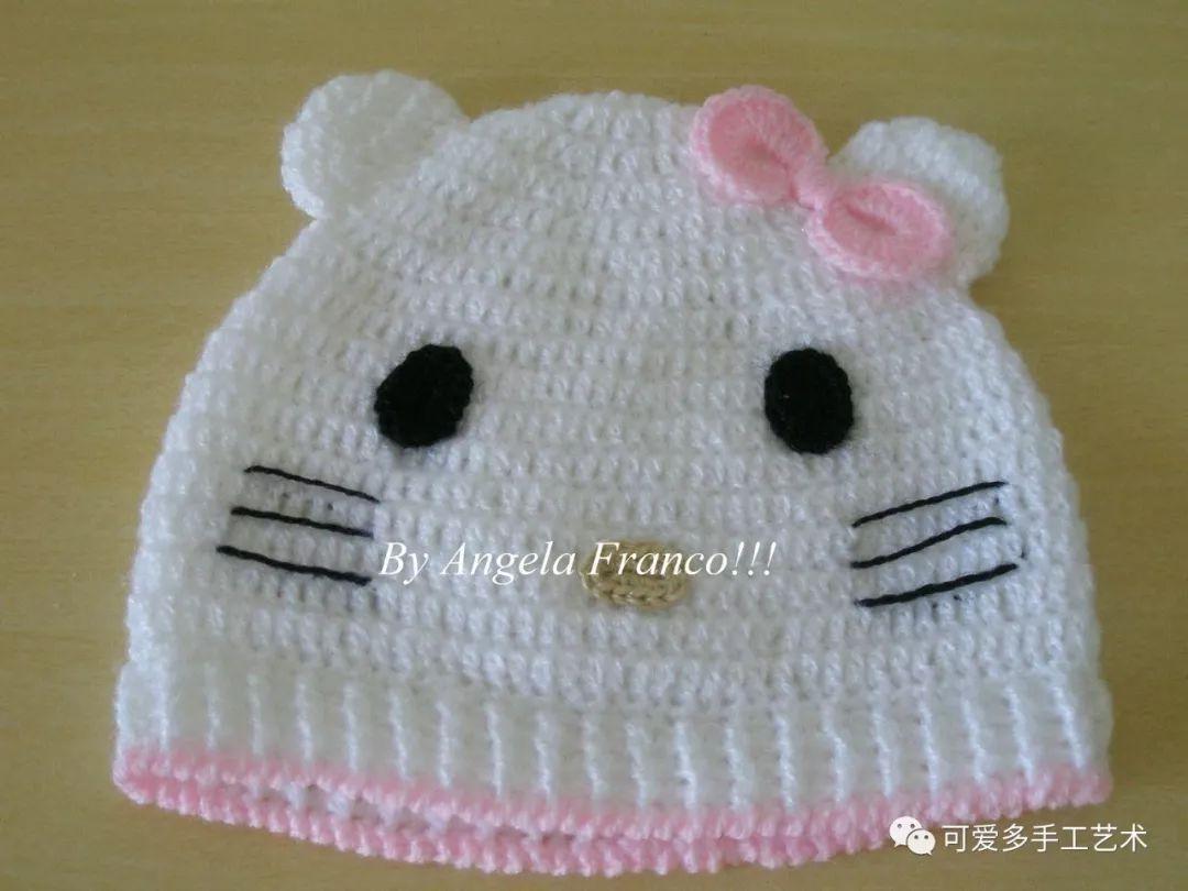 钩织婴儿帽,圆形帽顶,镂空图案,精致的花边,系带漂亮实用
