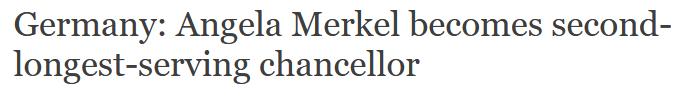 <b>默克尔成为德国任期第二长总理</b>