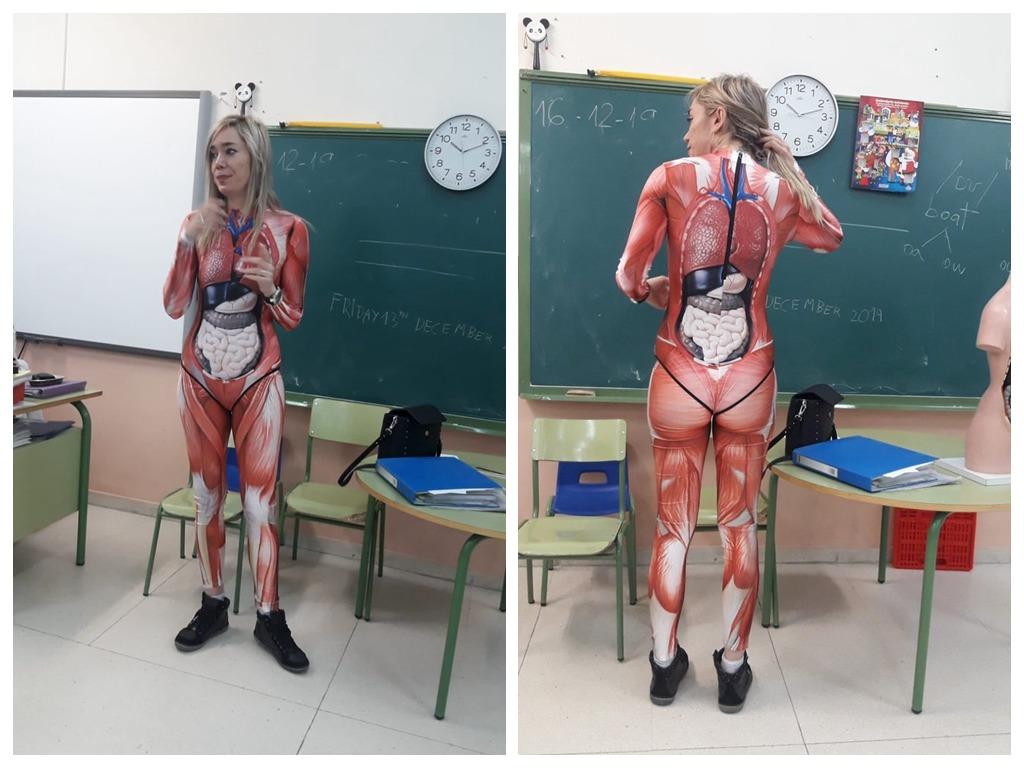 女老师穿「器官紧身衣」教生物课激似进击的巨人?