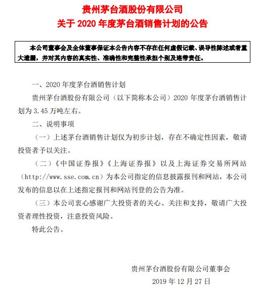 贵州茅台2020年茅台酒发卖目标:3.45万吨阁下