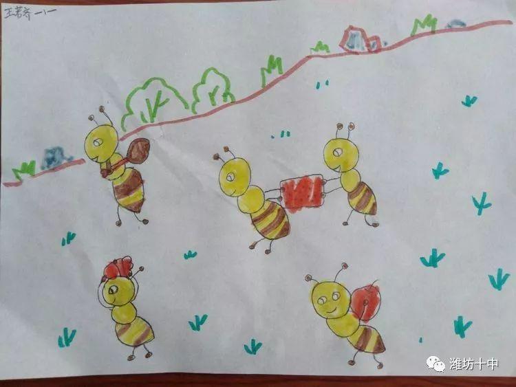 《蚂蚁搬家》   《自画像》   《花格子小牛》   在德智体美劳全面发展的今天,美育已成为教育发展的必要趋势.