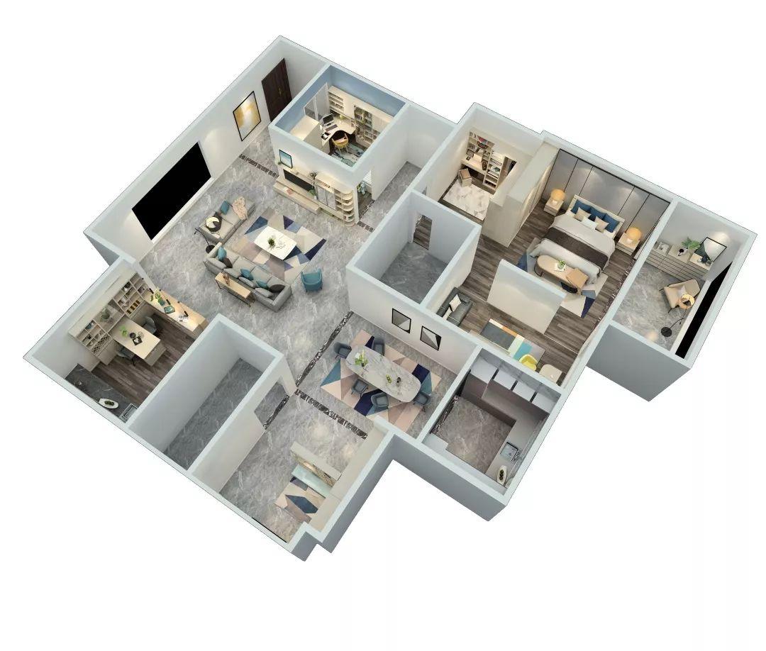 102㎡现代简约两室两厅,只用一种配色都能这么美?