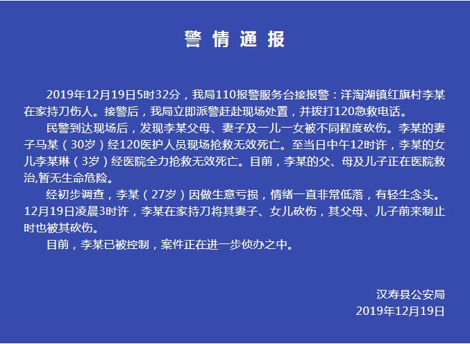 湖南27岁男子砍杀家人致妻女死亡,事发前曾遭网贷追债_李某太