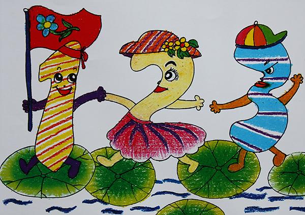 儿童油画棒作品,数字的画法,荷叶的画法,数字画法步骤,儿童绘画 2