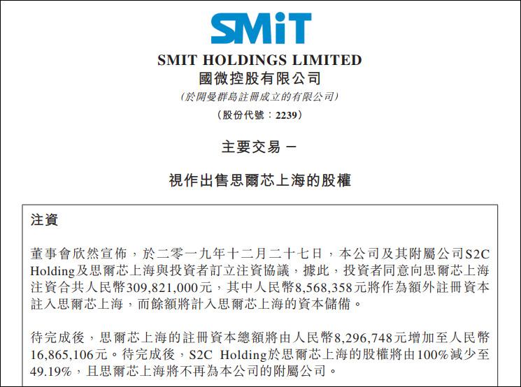 国微控股为思尔芯上海引资3.1亿,2年亏损超500万