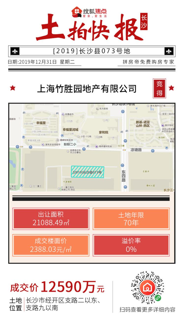 13地连拍告别2019!上海竹胜园一波带走长沙县11宗地块!