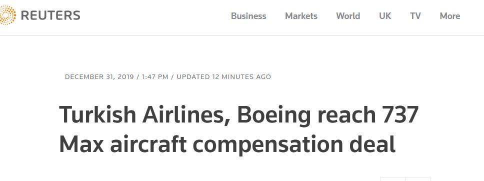 <b>土耳其航空与波音达成737 MAX飞机赔偿协议,土媒:涉2.25亿美元</b>
